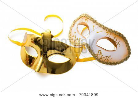 Two carnival masks isolated on white background