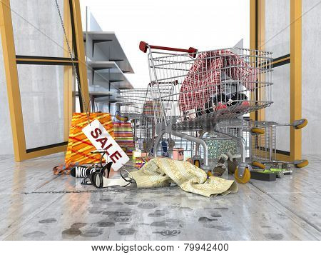 shopping sale concept background with shopping trolley