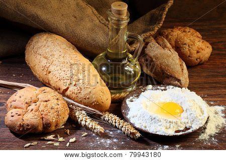 Preparation Of The Test For A Home-made Bread Batch, A Flour, Egg, Salt, Oil