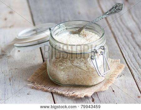 Basmati Rice In A Glass Jar