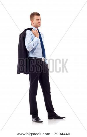 Business Man With Coat On Shoulder