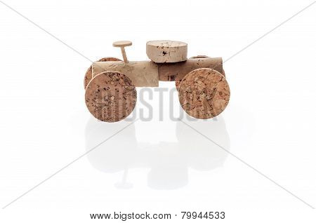 Selfmade cork toy car