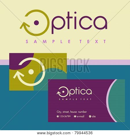 Business cards for optics. Colored background
