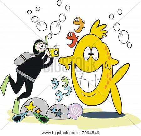 Underwater photograph cartoon