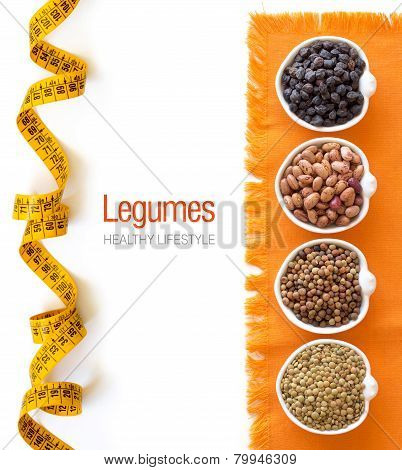 Variety Or Legumes In Bowls