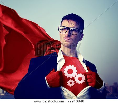 Gear Strong Superhero Success Professional Empowerment Stock Concept