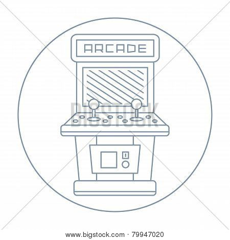 simple line drawn vintage game arcade cabinet icon isolated illustration