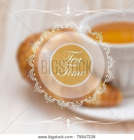 Menu design template with tea cup
