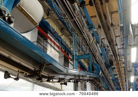 interior of a production factory with belt conveyor