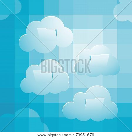 Sky computing concept with pixelate sky clouds folder sructure