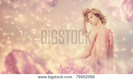Beautiful Woman Posing In A Pink Peony Fantasy