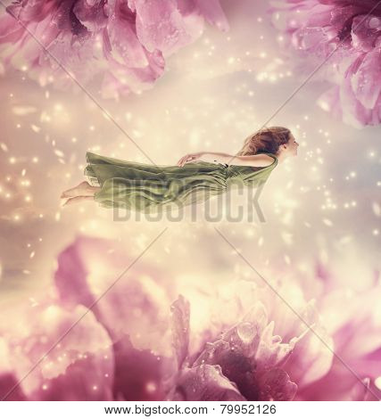 Beautiful Young Woman With Giant Flowers