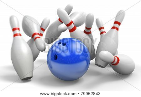 Blue ball hitting a perfect strike on ten-pin bowling