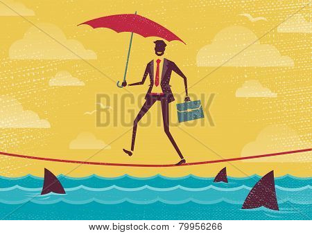 Businessman Walks Tightrope With Umbrella.