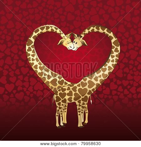 Giraffe's couple designed for a Valentin's day card.