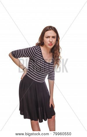 woman sciatica back pain isolated a on white background
