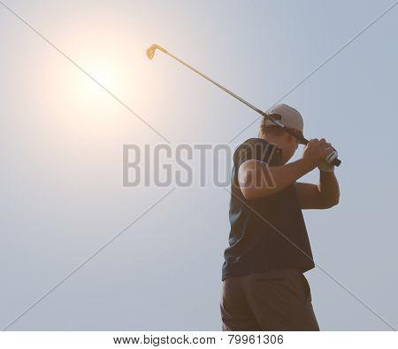 Young Man Playing Golf, Golfer Hitting Fairway Shot, Swinging Club