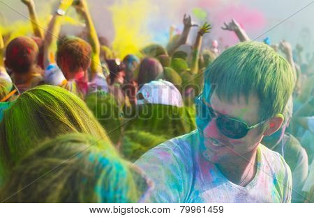 Young Man On Holi Color Festival