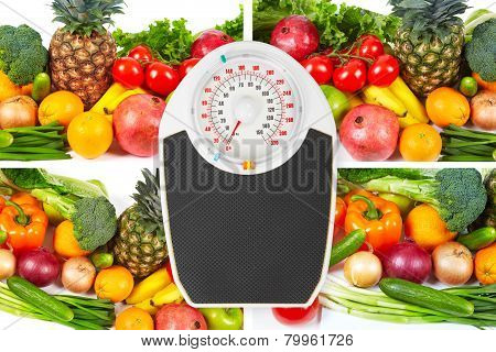Scales And Collection Fruits And Vegetables