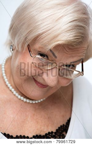 Closeup of lovely elderly woman