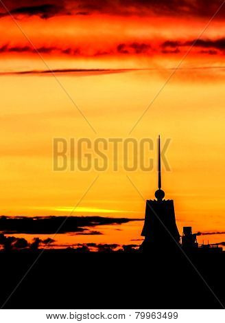 Beautiful Sunset Above The City With Beauty Vivid  Sky And Buildings. Sunny Dawn In A City Landscape
