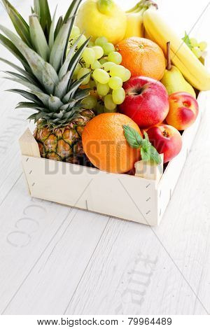 box full of fresh fruits - fruits and vegetables