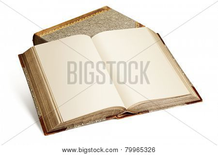 Vintage encyclopedia with blank pages on top of second book  isolated on white background
