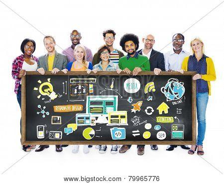 Diversity Casual People Responsive Design Media Teamwork Concept