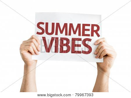 Summer Vibes card isolated on white background