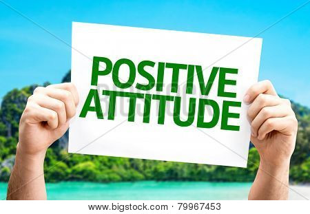 Positive Attitude card with a beach on background