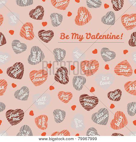 'Be My Valentine!' typography Happy Valentine's Day Card. Romantic postcard.