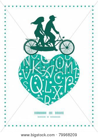 Vector white on green alphabet letters couple on tandem bicycle heart silhouette frame pattern greet