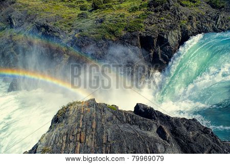 Waterfall In Torres Del Paine