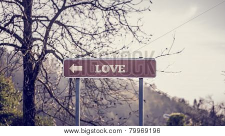 Signpost With Pointing Arrow Towards Love
