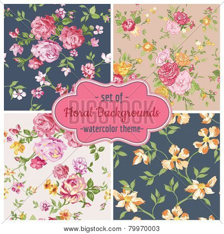 Set of Seamless Flower Backgrounds - pattern in vector