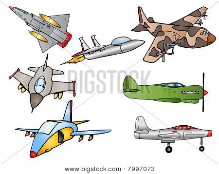 Group Of Fighter Jet Plane Illustration