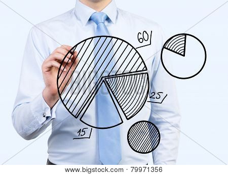 Businessman Drawing Pie Chart