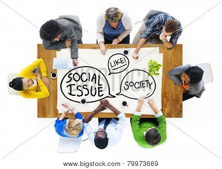 Group of People Brainstorming Social Issue Meeting Concept