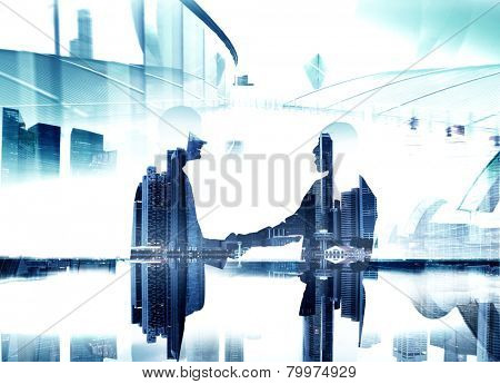 Business People Greeting Holding Hand Contract Teamwork Concept