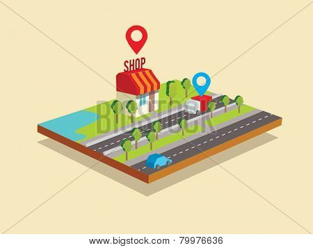 Flat isometric illustration e-commerce and on-line shopping.