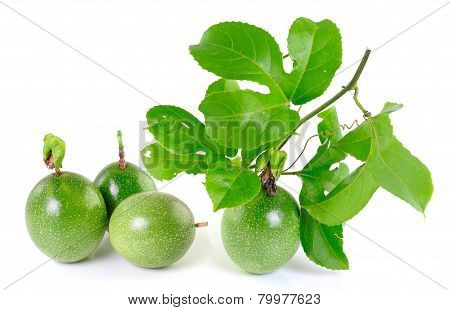 Passionfruit On White Background With Leaves.