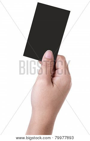 Hand Holds Business Card
