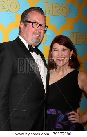 LOS ANGELES - JAN 11:  Chris Haston, Kate Flannery at the HBO Post Golden Globe Party at a Circa 55, Beverly Hilton Hotel on January 11, 2015 in Beverly Hills, CA