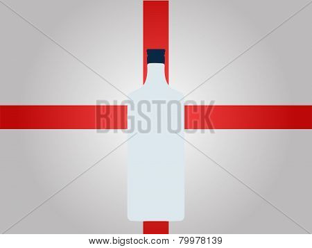 English Flag With A Bottle Of Gin