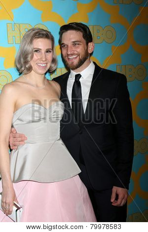 LOS ANGELES - JAN 11:  Zosia Mamet, Evan Jonigkeit at the HBO Post Golden Globe Party at a Circa 55, Beverly Hilton Hotel on January 11, 2015 in Beverly Hills, CA