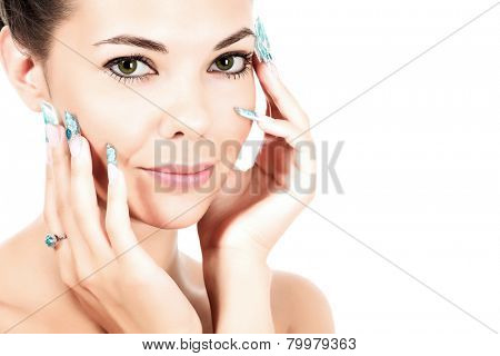 Pretty woman with long fingernails, white background, isolated