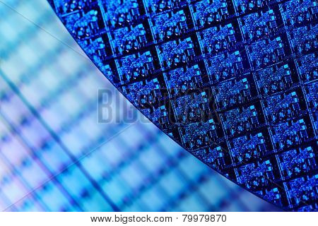 Macro of Silicon wafers. Low DOF