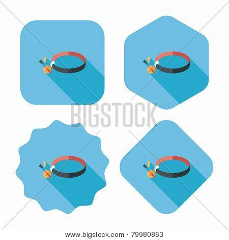 Pet Dog Chains Flat Icon With Long Shadow,eps10