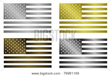 llustration of four simply isolated metallic flags of United States Of America in silver gold bronze