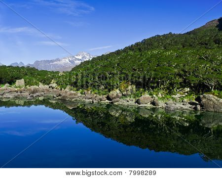 Clear Mountain Lake With Reflection